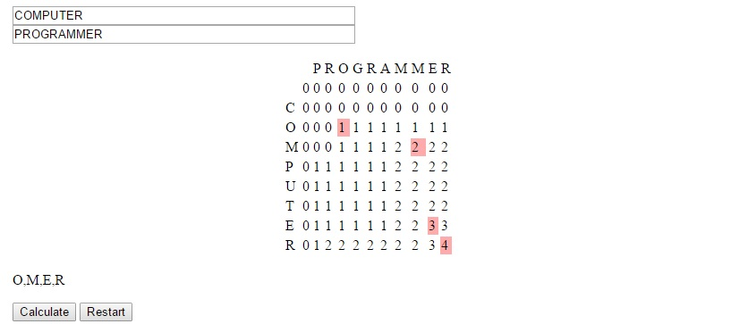 how to solve logest common subesequence